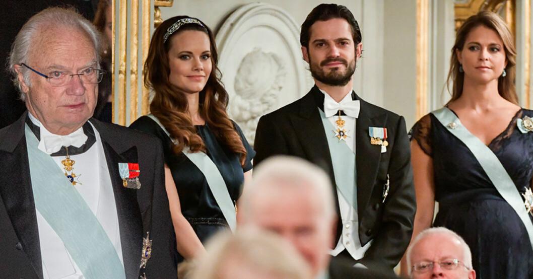 Kungen, prinsessan Sofia, prins Carl Philip och prinsessan Madeleine på Svenska Akademiens högtidssammankomst.