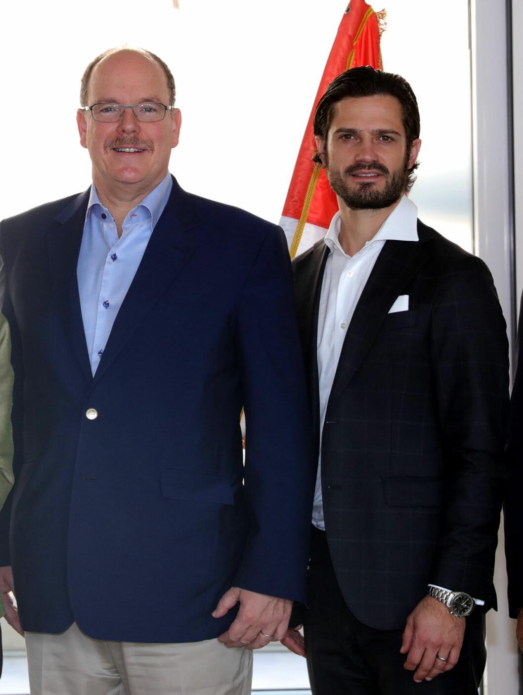 Prins Carl Philip och furst Albert vid Monaco Ocean Week.