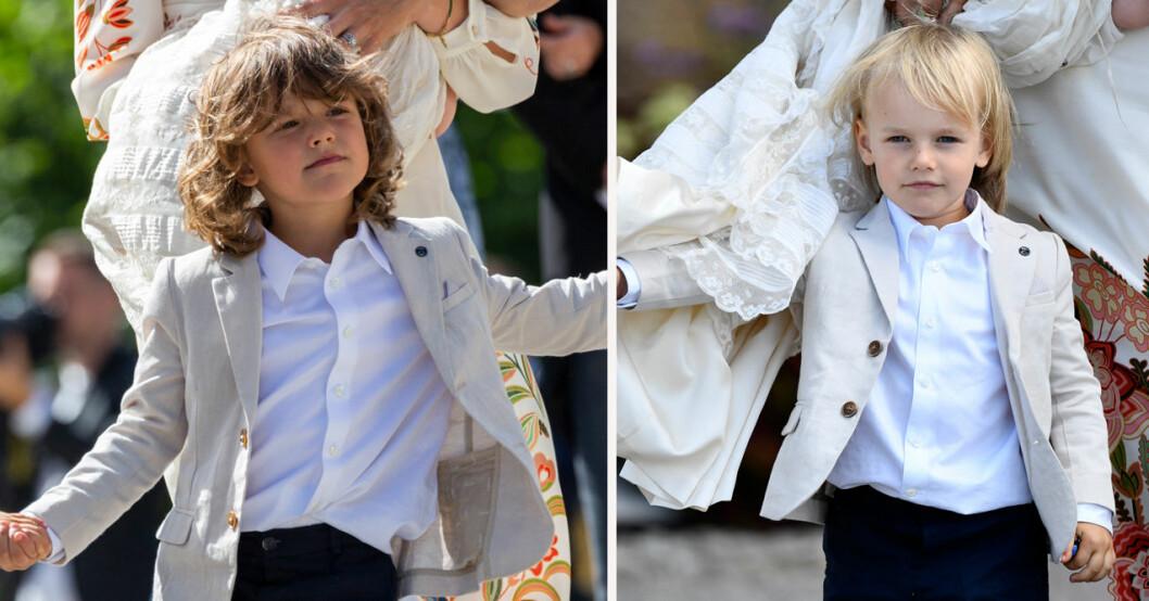Prins Alexander och prins Gabriel på lillebror Julians dop 2021