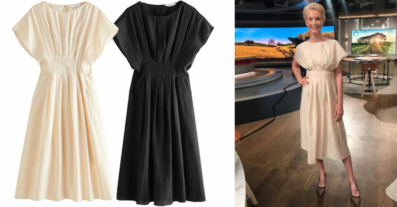 Jenny Strömstedt i TV4 Nyhetsmorgon i en snygg beige plisserad klänning