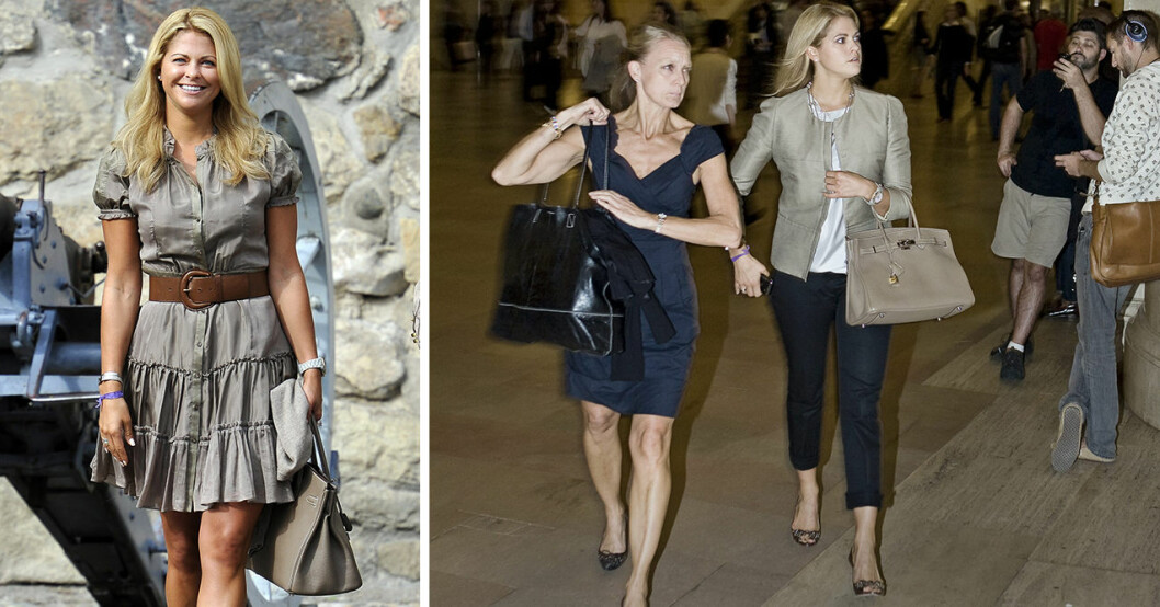 Prinsessan Madeleine med en Birkin-bag från Hermès