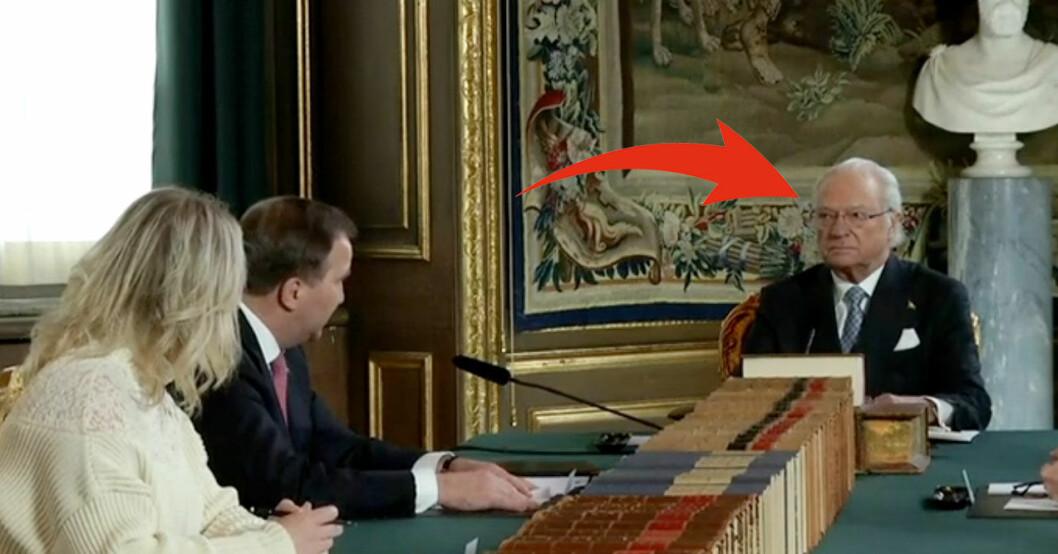 Kungen mötte blick med Stefan Löfven – men inte med tv-tittarna.