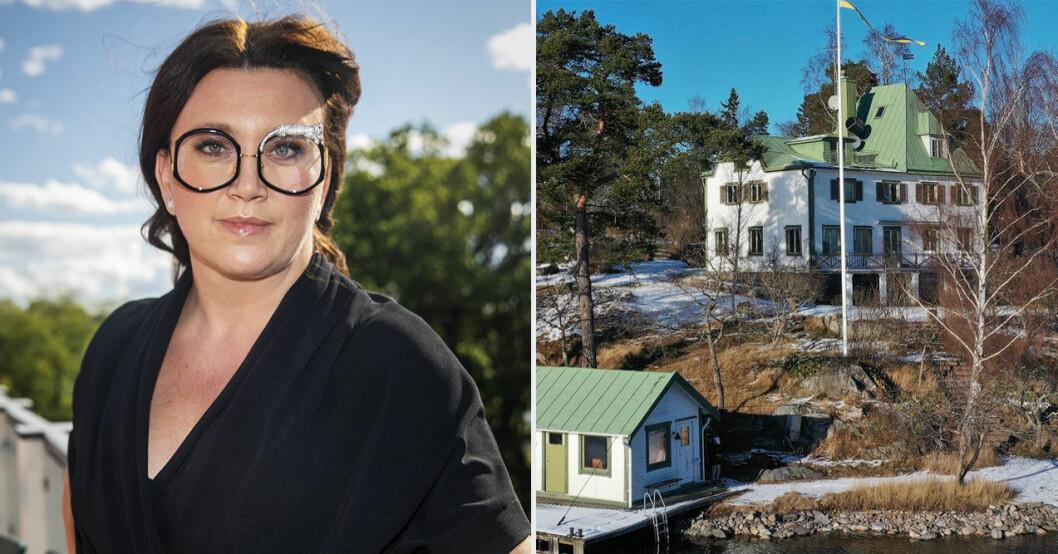 Camilla Läckberg visar upp lyxhuset med Simon Skiöld