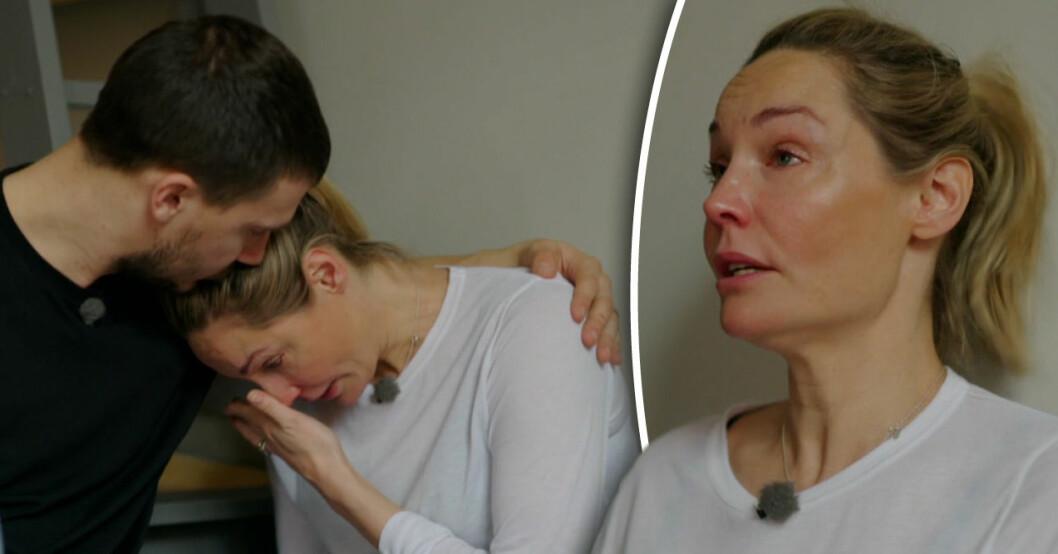 """Carina Berg bryter ihop i sitt nya program """"Var fan är storken?"""" när hon påminns om missfallet."""