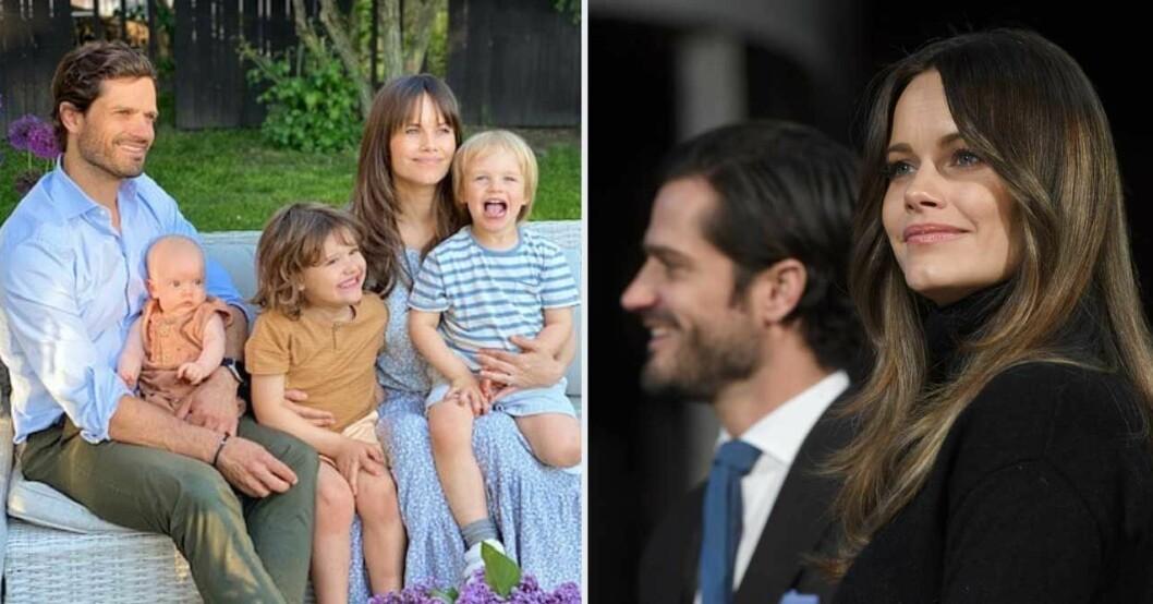 Prins Carl Philip och prinsessan Sofia visar upp barnen
