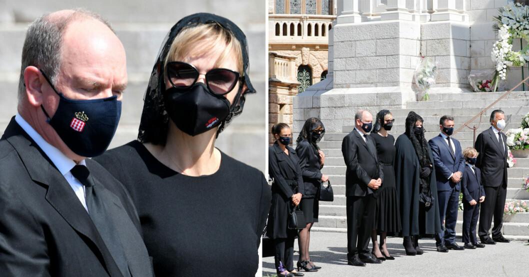 Charlene och Albert på begravning i munskydd