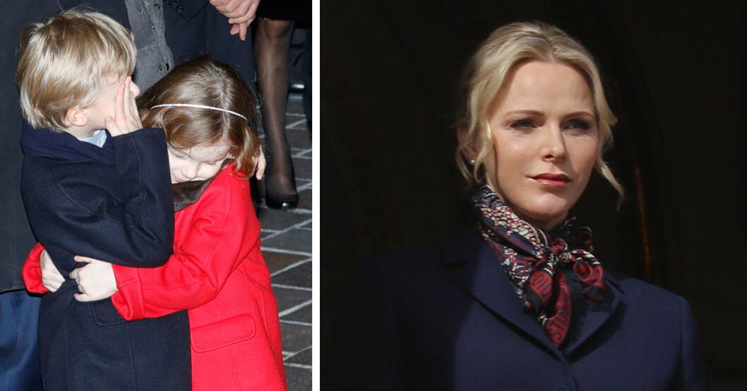 Tvillingarna Jacques och Gabriella och mamma Charlene är tack och lov inte smittade.