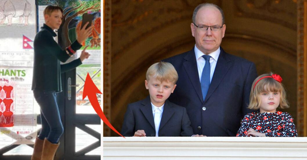 Furstinnan Charlene, furst Albert, prinsessan Gabriella och prins Jacques