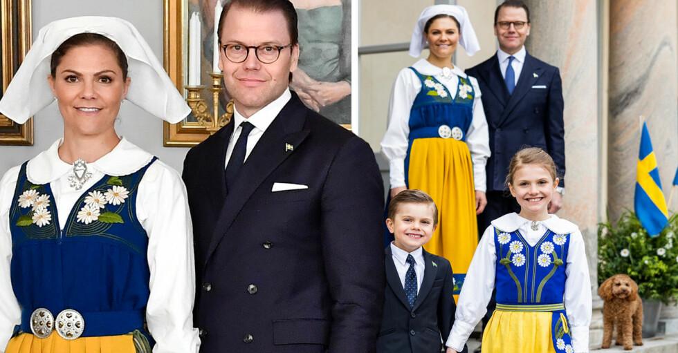 Kronprinsessan Victoria i Sverigedräkt Prins Daniel i kostym