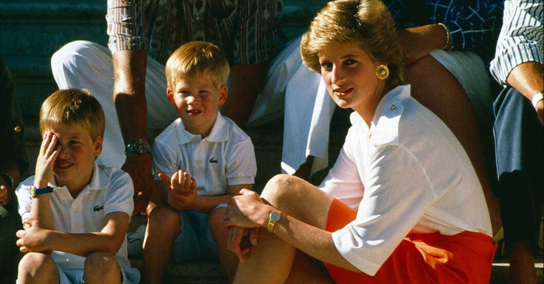 diana med William och Harry på Mallorca