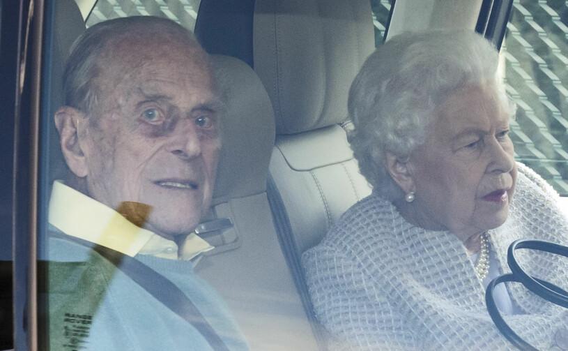Drottning Elizabeth Prins Philip i bilen