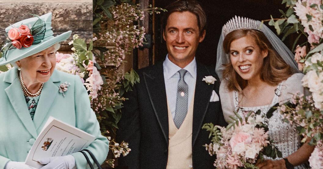 Drottning Elizabeth med brudparet prinsessan Beatrice och Edoardo Mapelli Mozzi.