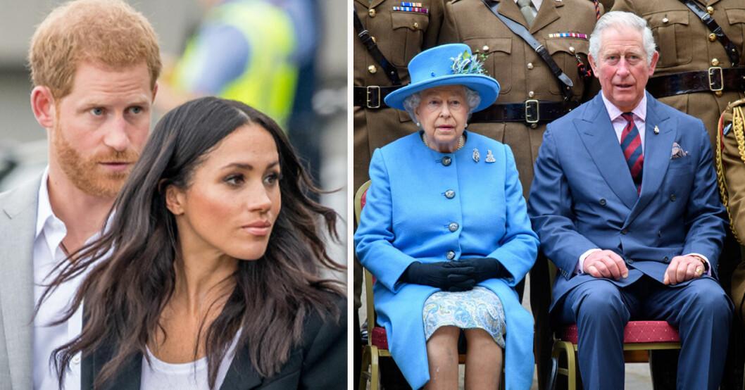 Prins Harry, Meghan Markle, drottning Elizabeth och prins Charles