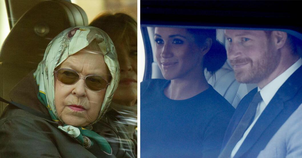 Drottning Elizabeth och Meghan Markle och prins Harry
