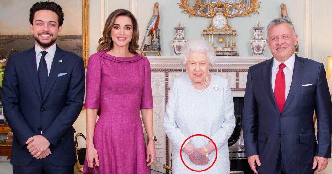 Drottning Elizabeth med drottning Rania