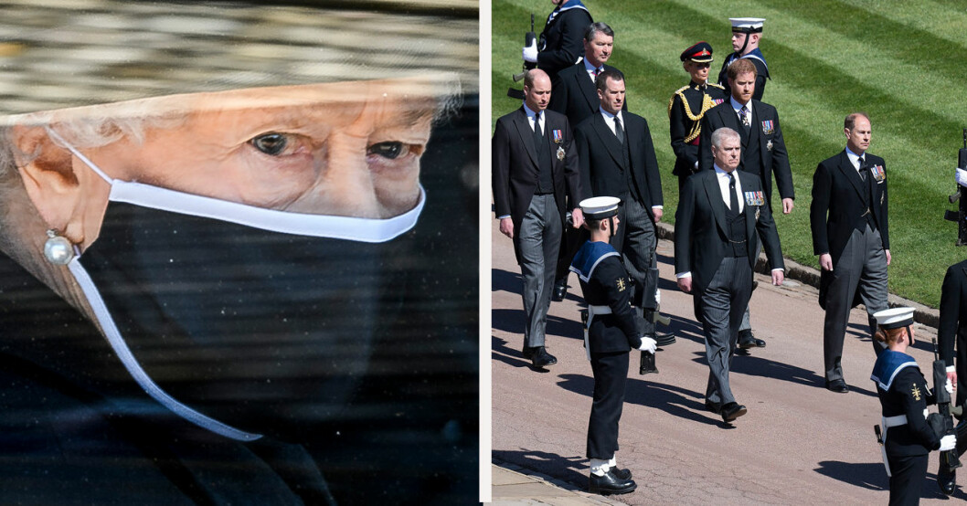Drottning Elizabeth på prins Philips begravning