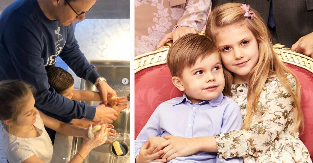 Prinsessan Estelle och prins Oscar tvättar händerna på Haga.