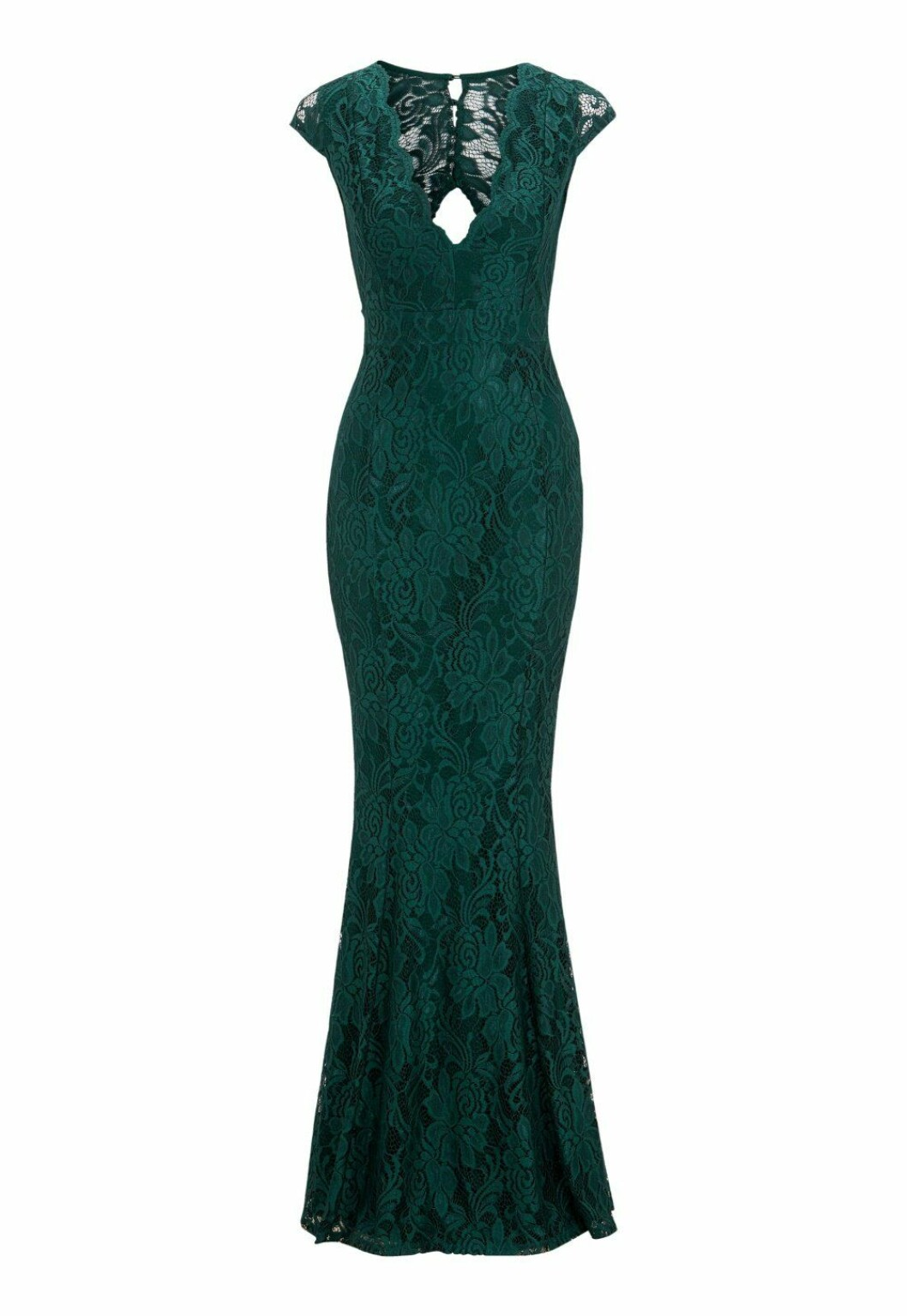 Grön spetsklänning i lång modell