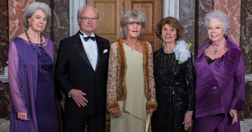 Kungen och Hagasessorna på prinsessan Birgittas 80-årsdag 2017.