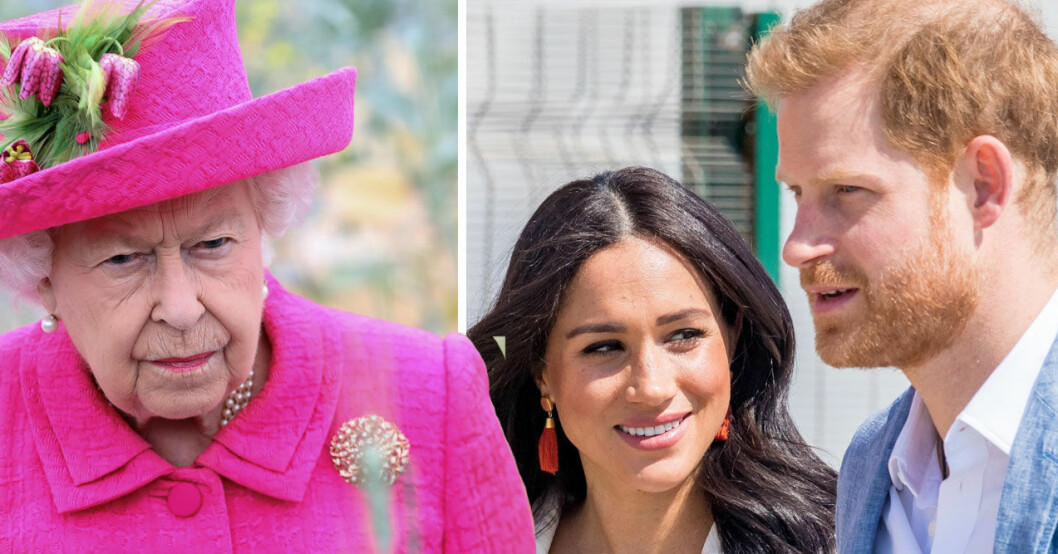 Prins Harry, Meghan Markle och drottning Elizabeth.