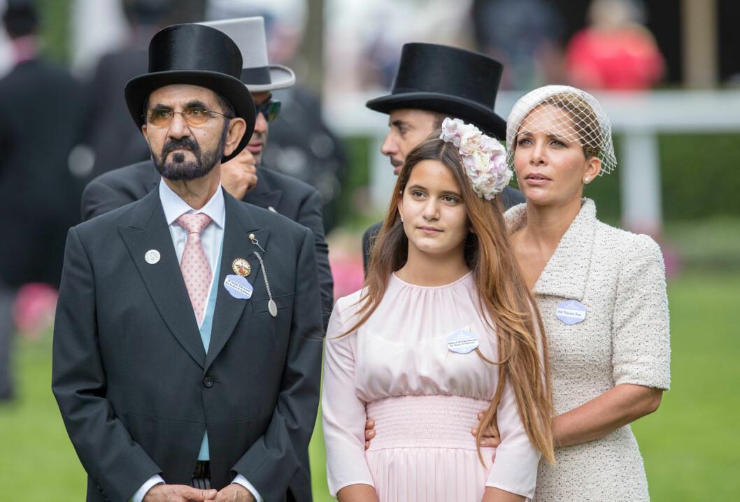 Prinsessan Haya och emiren med sin dotter Jalila på Royal Ascot 2018.