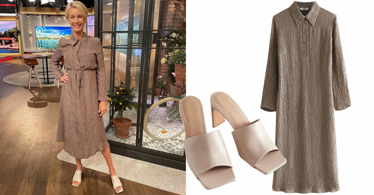 Jenny Strömstedt i en brun klänning med krage, knappar och markerad midja samt skor från & Other Stories