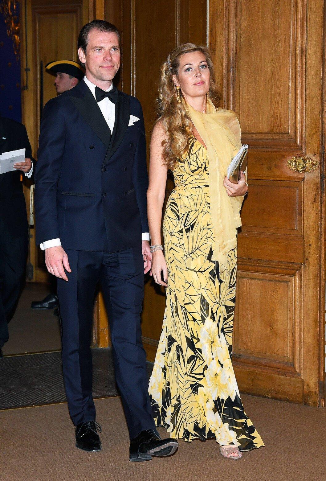 Estelle och Johan Nordenfalk under kungens födelsedagsmiddag.