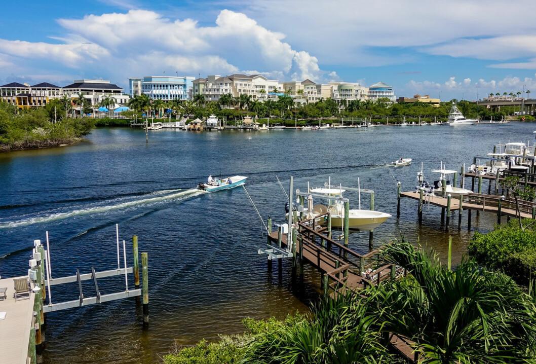 Vy över vattnet i Jupiter i Florida.