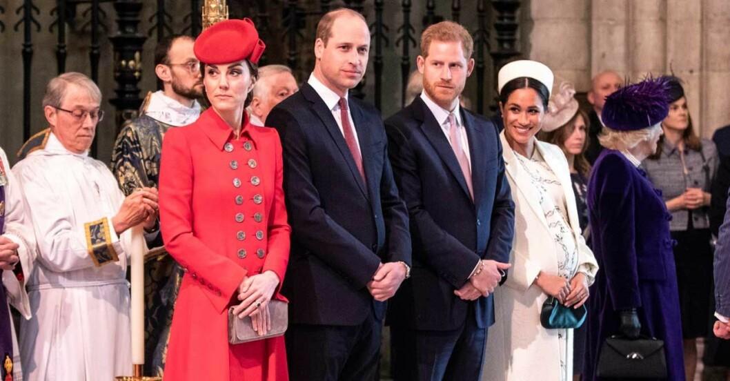 Meghan och Harry med William och Kate 2018.