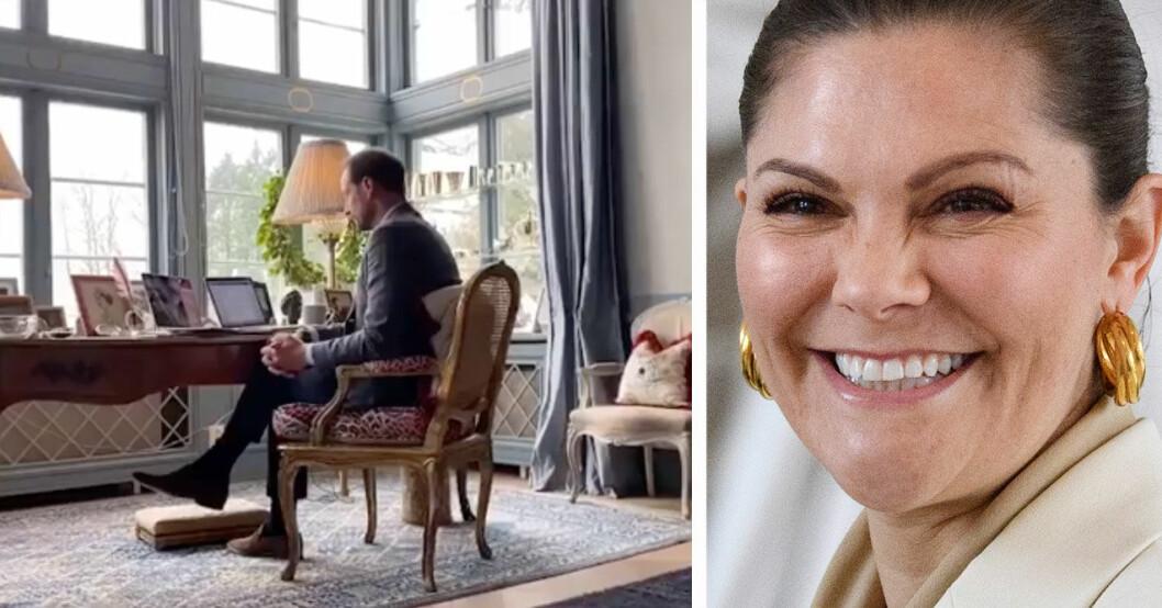 Kronprinsessan Victoria och kronprins Haakon i sitt arbetsrum.