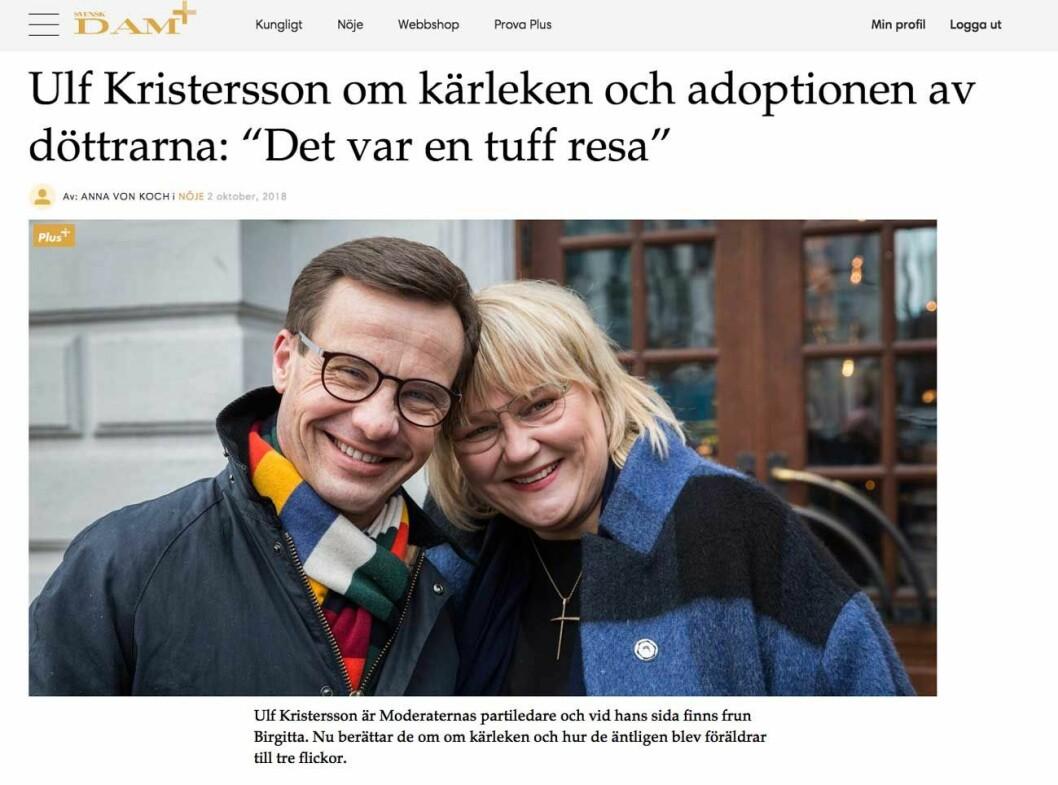 """Ulf Kristersson om kärleken och adoptionen av döttrarna: """"Det var en tuff resa"""""""