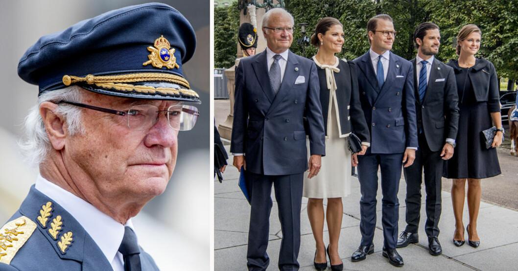 Kung Carl Gustaf, kronprinsessan Victoria, prins Daniel, prins Carl Philip och prinsessan Madeleine