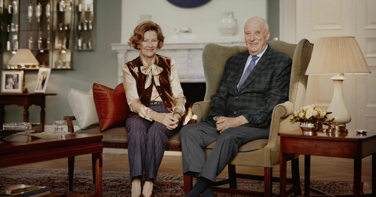 Kung Harald Drottning Sonja Hemma hos Privata våning Slottet i Oslo