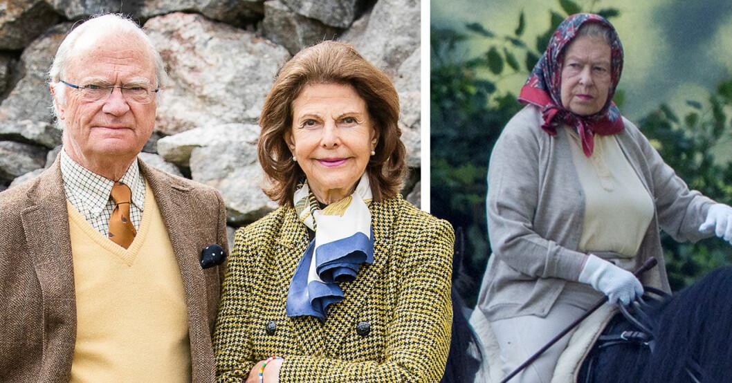 Kungen, drottning Silvia på Stenhammar, drottning Elizabeth till häst.