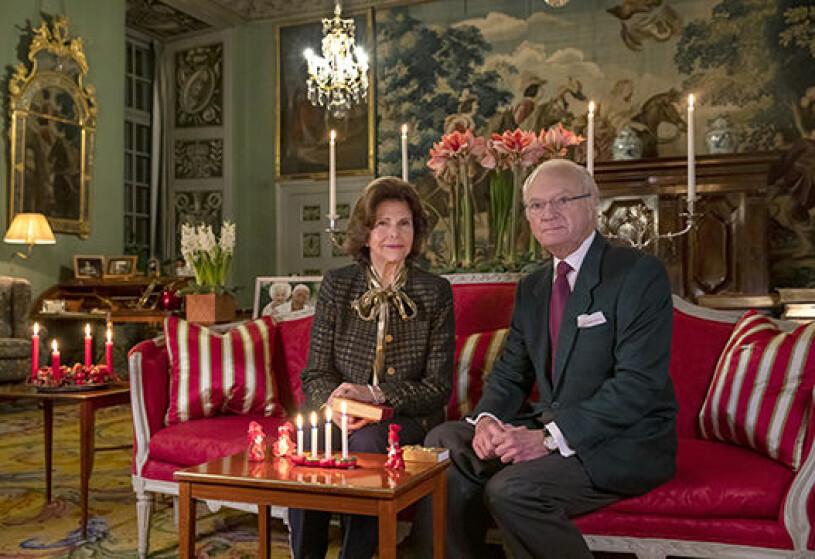 Kungen Kungaparet Drottningholm Drottningholms slott Det privata vardagsrummet Stensalen Advent Julen 2020