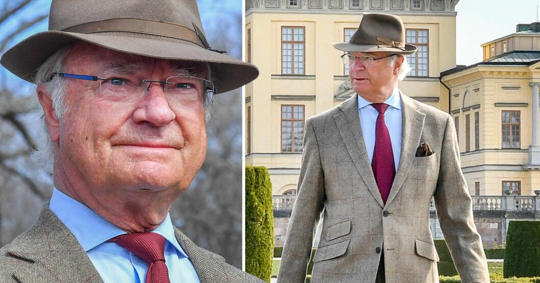 Kungen på Drottningholms slott. Måste ställa in Kungsrallyt.