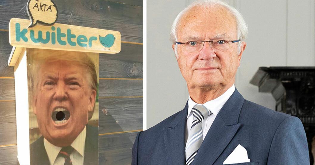 Kungen och Donald Trump som fågelholk