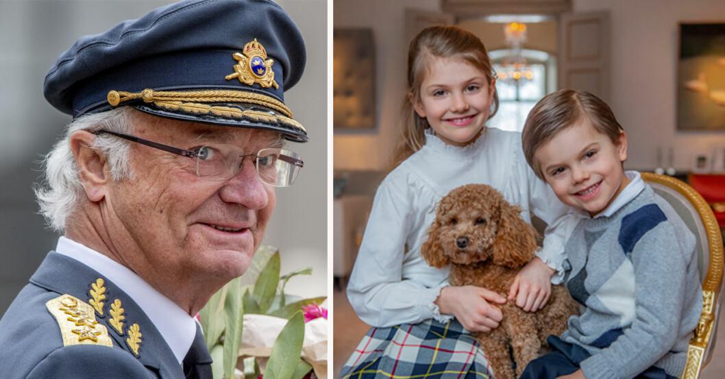 Kung Carl Gustaf, prinsessan Estelle och prins Oscar