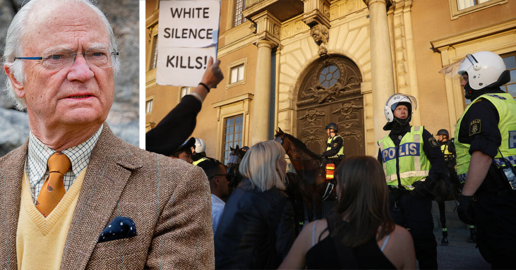 Kravaller utanför Stockholms slott i samband med demonstrationen mot rasism och polisvåld.