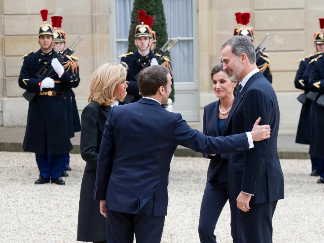 Drottning Letizia och kung Felipe träffar president Macron och fru Brigitte.