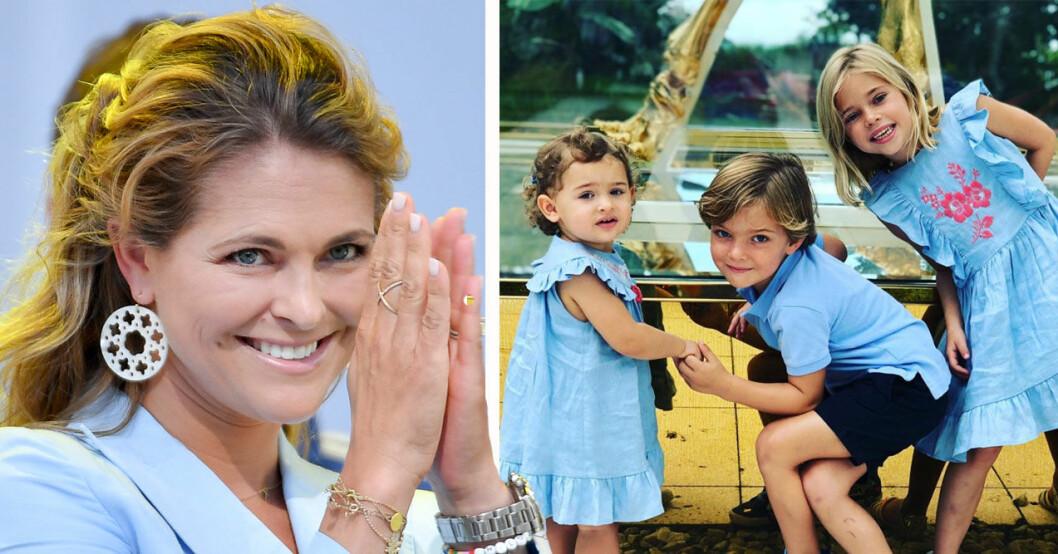 Prinsessan Madeleine med sina barn, en bild från hennes Instagram