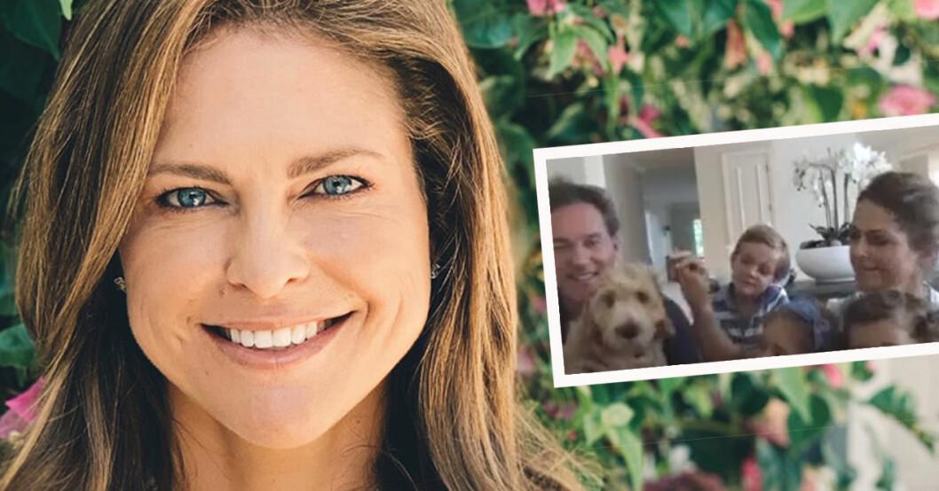 Prinsessan Madeleine med familjen och hunden Teddy.