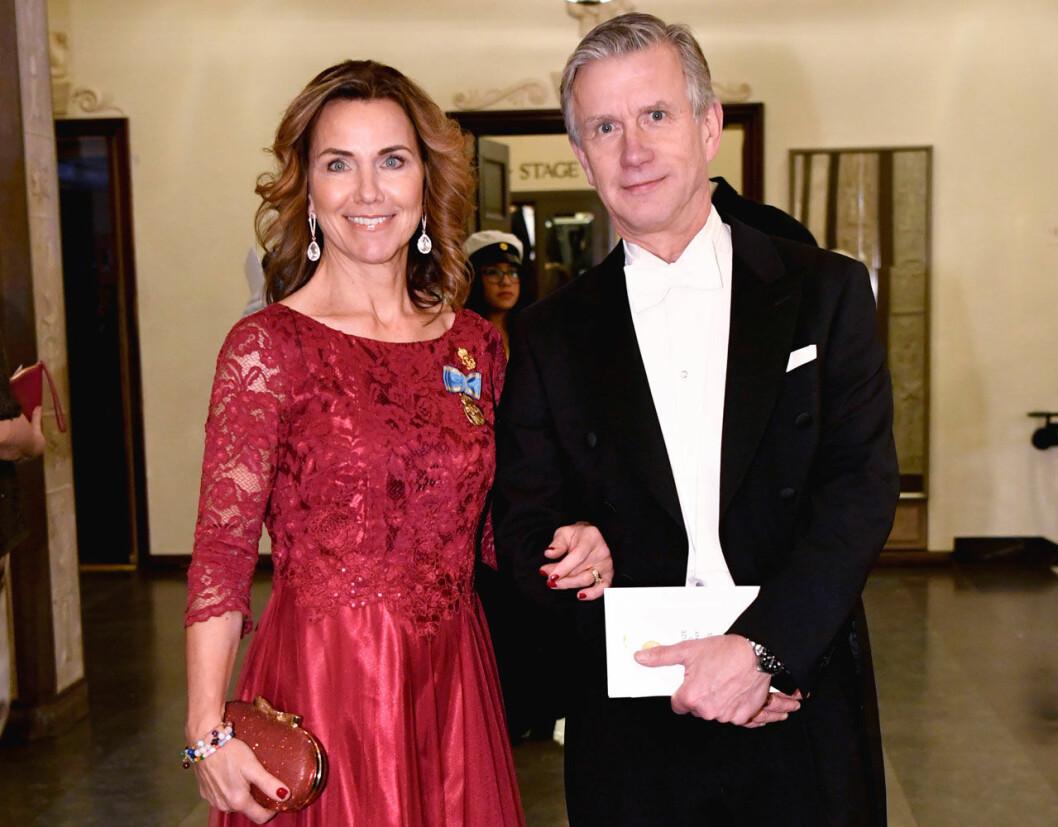 Margareta Thorgren på Nobelfesten med maken Magnus.