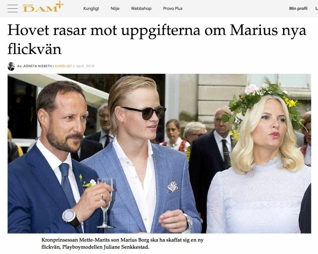 Hovet rasar mot uppgifterna om Marius nya flickvän