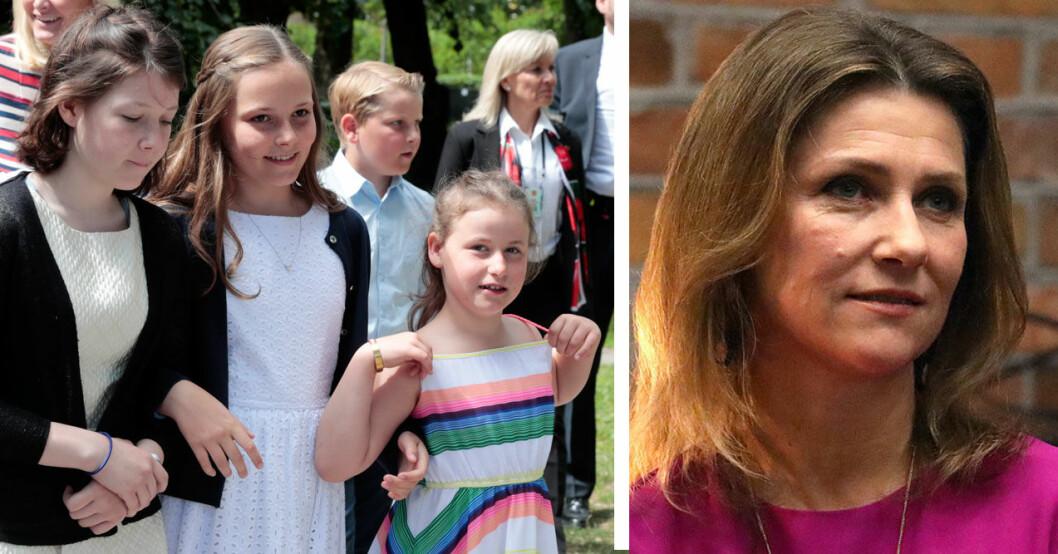 Märtha Louise åkte till USA med döttrarna Maud, Leah och Emma.