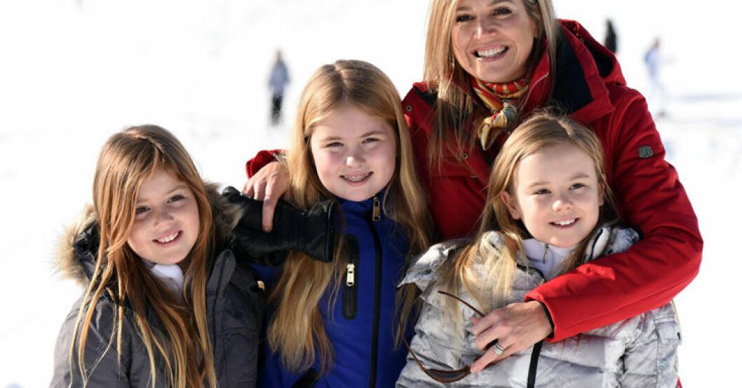 Nederländska kungafamiljen i snön