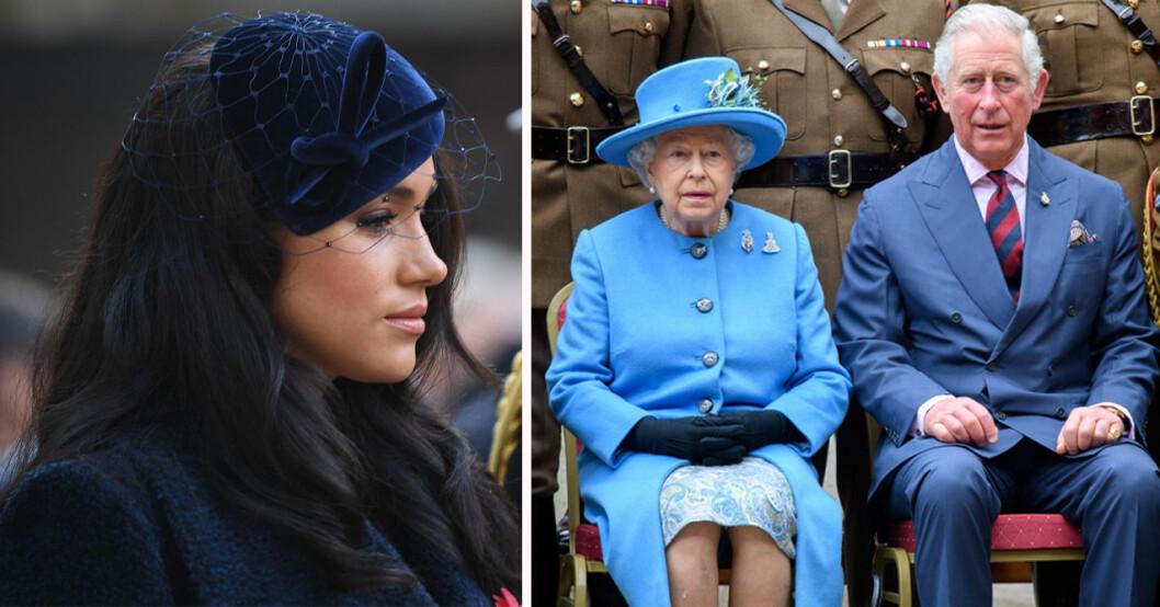 Meghan Markle, drottning Elizabeth och prins Charles