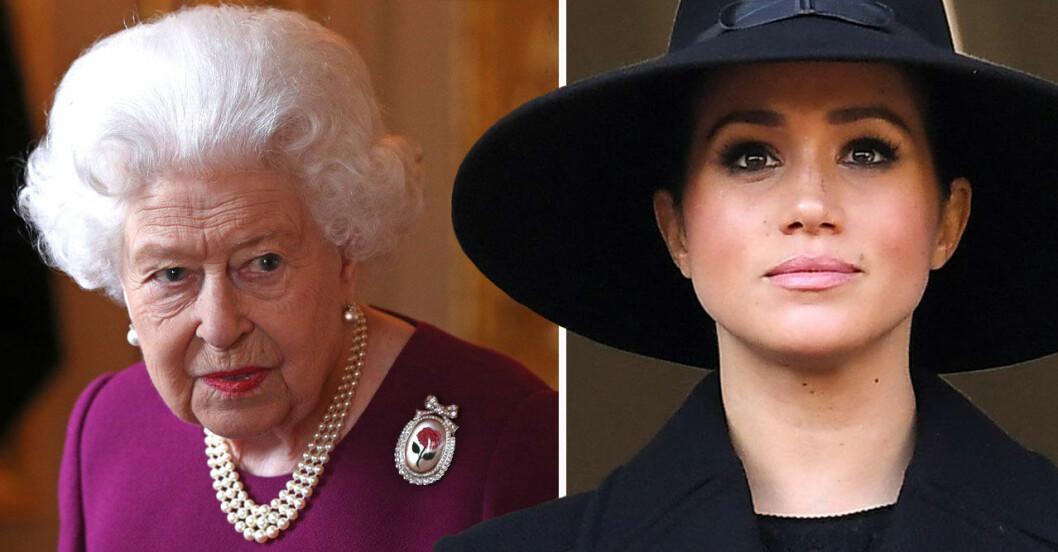 Drottning Elizabeth och Meghan Markle.
