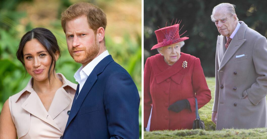 Meghan Markle, prins Harry, drottning Elizabeth och prins Philip