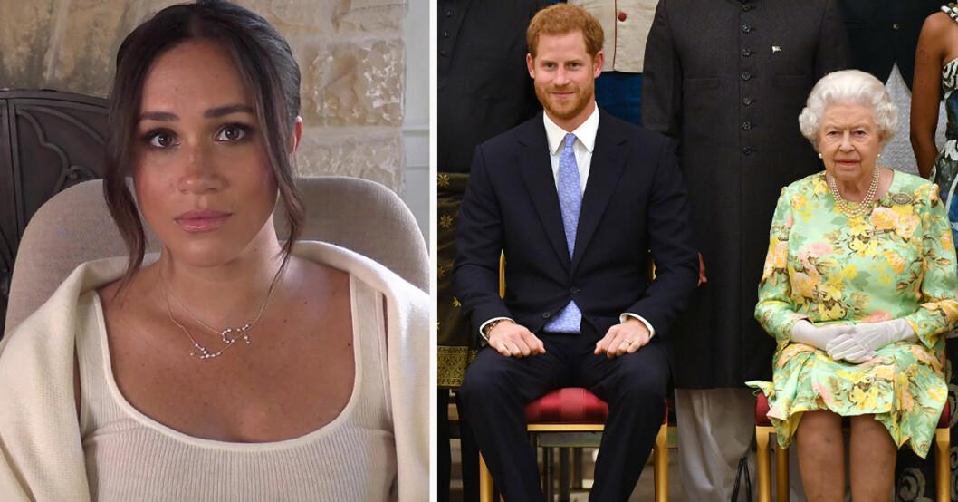 Meghan Markle, prins Harry och drottning Elizabeth